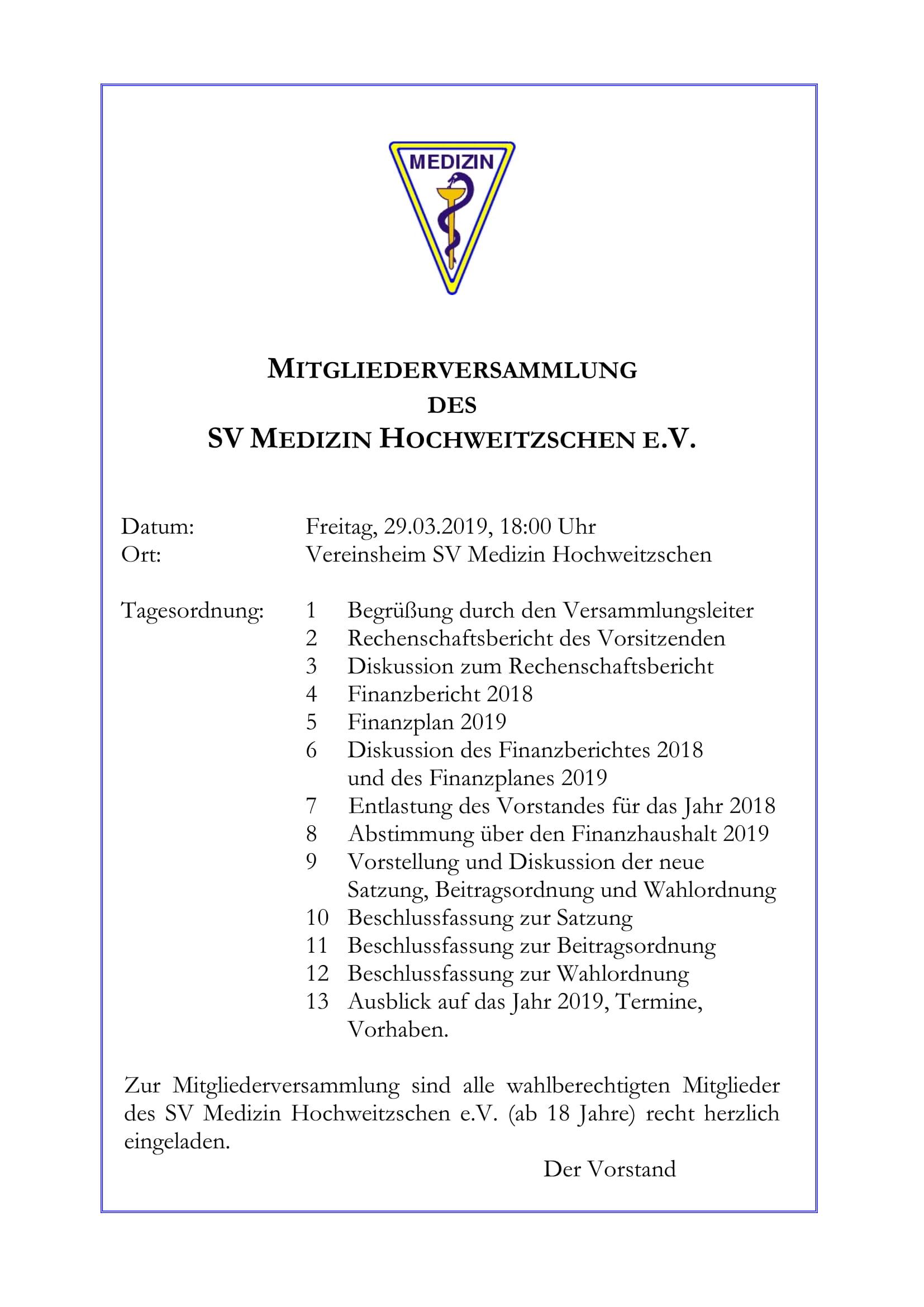 Mitgliederversammlung @ Sportplatz Hochweitzschen